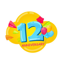 cute cartoon template 12 years anniversary vector image