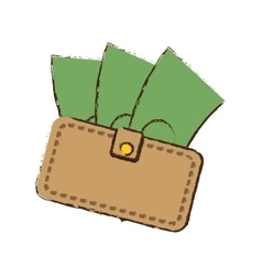 drawing wallet bill money cash dollar vector image