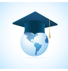 Earth planet with graduation cap vector image