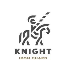 Equestrian knight linear logo symbol vector