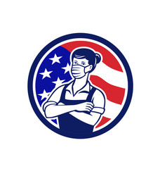 Female supermarket worker usa flag circle retro vector