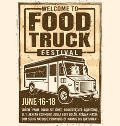 Food truck festival advertising vintage poster vector