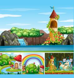 Four different scene fantasy world vector