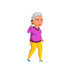 Grandmother speaking with family on phone cartoon vector