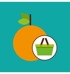 Green basket fresh orange design icon vector