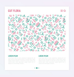 Gut flora concept with thin line icons vector
