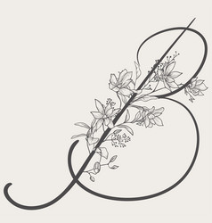 Hand drawn flowered b monogram and logo vector