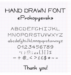 hand drawn imitation of font with brush letters vector image