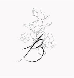 Handwritten line drawing floral logo monogram b vector