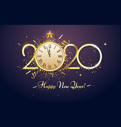 happy 2020 new year party countdown clock vector image