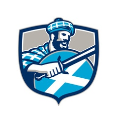 Highlander scotsman sword shield retro vector