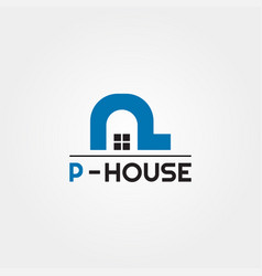 House icon template with p letter home creative vector