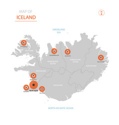 iceland map with administrative divisions vector image