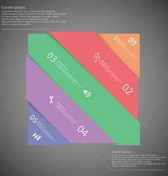Infographic template with colorful rectangle askew vector