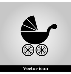 Isolated black baby carriage silhouette vector image