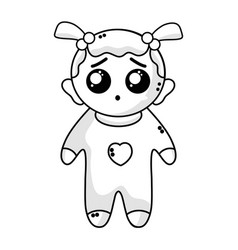 line cute baby girl with hairstyle and clothes vector image