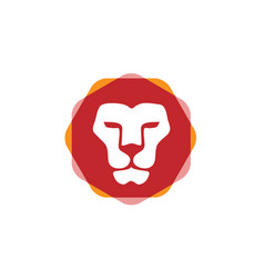 Lion head hexagon color vector