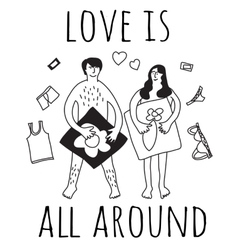 Love couple relations sign black and white vector image