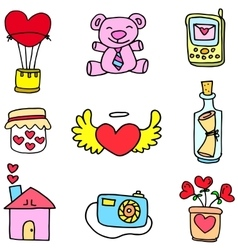 Love romance theme of doodles vector