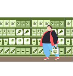 Man carrying shopping bag with cbd products modern vector
