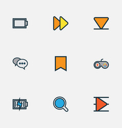 Media icons colored line set with arrow down vector