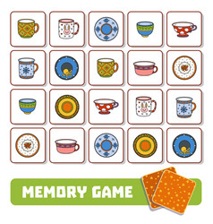 memory game for children cards with plates and vector image