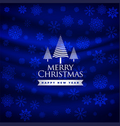 merry christmas beautiful blue festival greeting vector image
