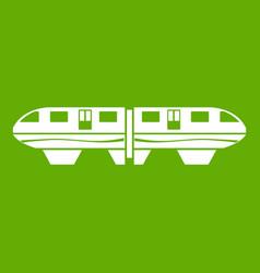 monorail train icon green vector image