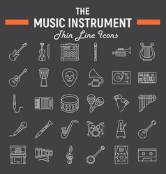 Music instruments line icon set audio symbols vector