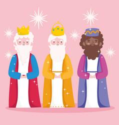 Nativity manger cute three wise kings cartoon vector