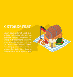 october fest beer banner concept isometric style vector image