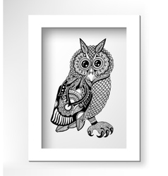 Original artwork of owl ink hand drawing in vector