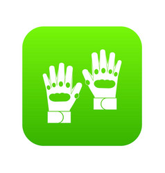 Pair of paintball gloves icon digital green vector