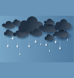 paper art and craft style of cloud and rainy vector image