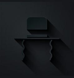 Paper cut orthodox jewish hat with sidelocks icon vector