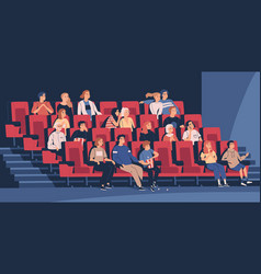 people sitting in chairs at movie theater vector image