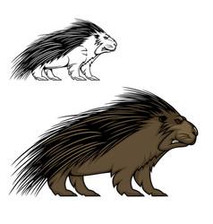 Porcupine or hedgehog mascot animal vector