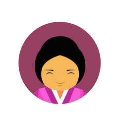 Portrait of asian woman in traditional clothes vector