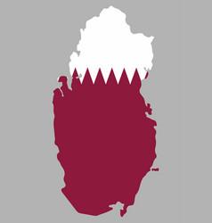 Qatar map with flag vector