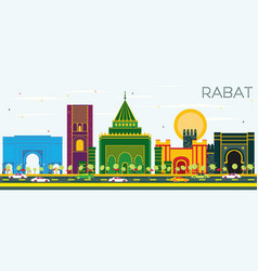 Rabat morocco skyline with color buildings and vector