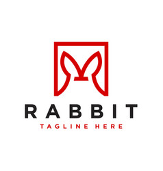 rabbit ears outline logo with letter r vector image