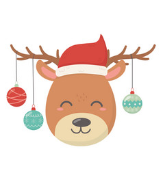 reindeer with hanging ball horns merry vector image