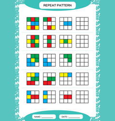 Repeat pattern cube grid with colorfull squares vector