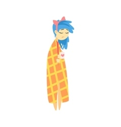 Sad girl with blue hair wrapped in blanket vector