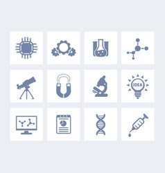 science laboratory study and research icons vector image