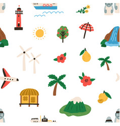 seamless korean pattern with jeju islands vector image