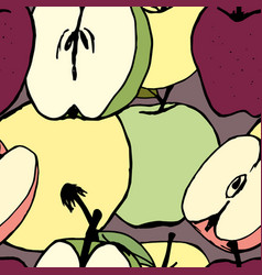 Seamless pattern with apples vector