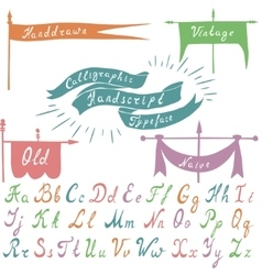 set calligraphic handdrawn font and banners vector image