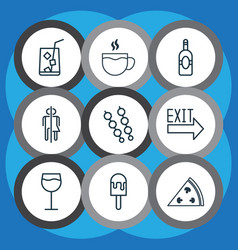 set of 9 eating icons includes lemon juice hooch vector image