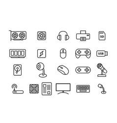 Set of computers and accessories in linear style vector